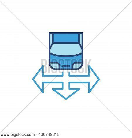 Car And Arrow Vector Blue Icon - Driverless Car Concept Sign