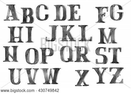 Latin Alphabet, Grunge Letters, Money Font, Black Ink Illustration Isolated On A White Background In