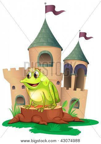 Illustration of a frog prince with a castle at his back on a white background