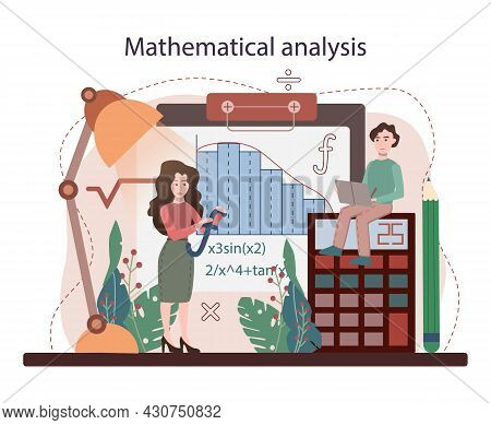 Math School Subject. Students Studying Mathematical Analysis. Science