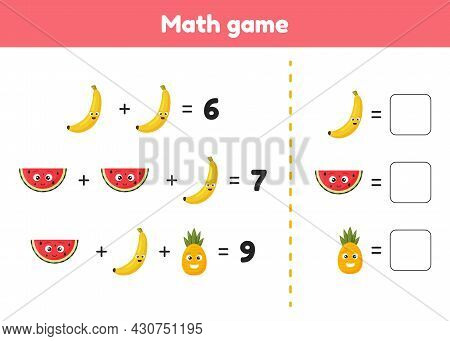 Math Game For Preschool And School Age Children. Count And Insert The Correct Numbers. Addition. Fru