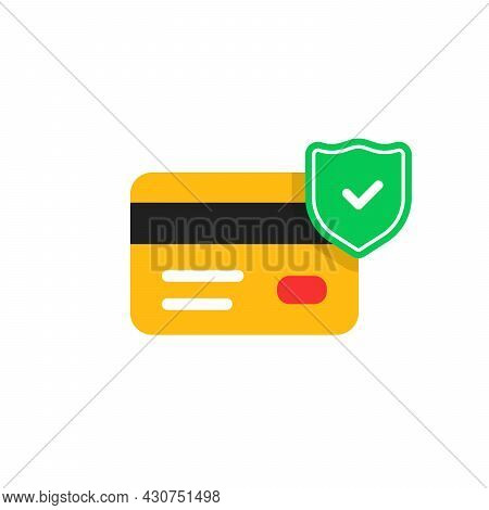Security Payment Icon With Green Shield. Concept Of Strong Defense For Security Service Or Safety De
