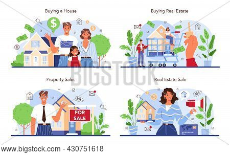 Real Estate Industry Set. Property Buying And Selling. Realtor Assistance