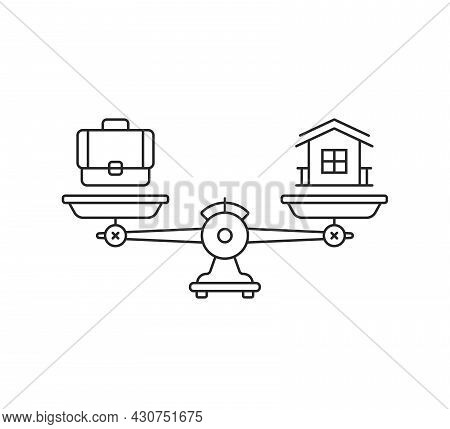 Harmony Between Career And Family. Lineart Style Trend Modern Stroke Graphic Art Design Isolated On