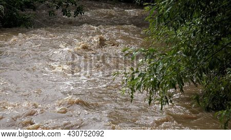 River In Mountains, Muddy Stream After Stormy Raining, Inundation, Flooding Creek In Torrential Rain