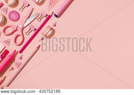 Top View Photo Of Ordered Pink Stationery Adhesive Tapes Pushpins Binder Clips Scissors Pencils Felt