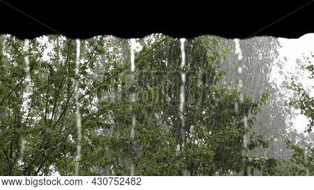 Torrential Rain, Raining, Inundation, Flooding, Storm, Rainy Day On House Roof, Stormy In Nature, Cl