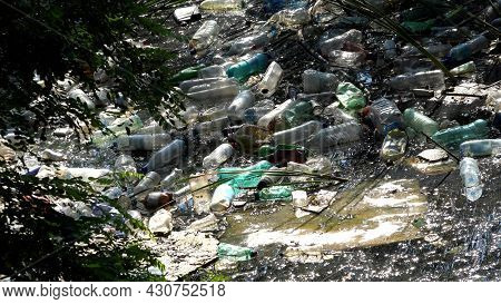 Pollution, Plastic Bottles In Mountain River, Garbage In Running Water, Trash Polluted, Polluting Na