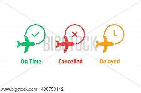 Three Color Airport Information Simple Icons. Concept Of Inform Icons For Airline And Cancellation O