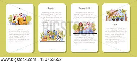 Expedition Guide Mobile Application Banner Set. Tourists Hiking