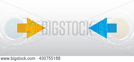 Modern Hi-tech Business Presentation. Abstract Background With Technology Elements, Arrows And Spher