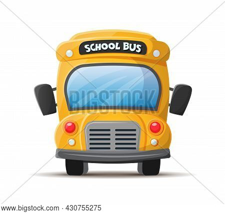 School Bus, Yellow, Frontal View. Vector , Flat Illustration In Cartoon Style Isolated On White Back