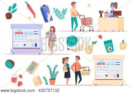 Grocery Shopping At Supermarket Isolated Elements Set. Bundle Of Customers Buying Food, Vegetables A
