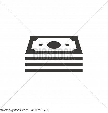 Money Stack Black Vector Icon. Finance Cash Symbol, Pile Of Banknotes.