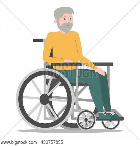 Disabled Old Man In The Wheelchair Vector Isolated. Handicapped Person, Senior Man. Problem With Hea