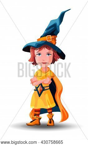 Little Witch Girl Stands With Folded Hands. Little Wizard Girl Stands With Folded Hands. Child Dress