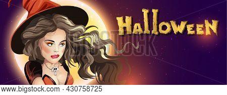 Collection Halloween Horizontal Greeting Banner With Halloween Night, Shining Moon, Night Stars And
