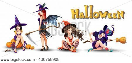 Halloween Set With Beautiful Witches. Collection Of Different Cute Beautiful Witches. Girl Is Sittin