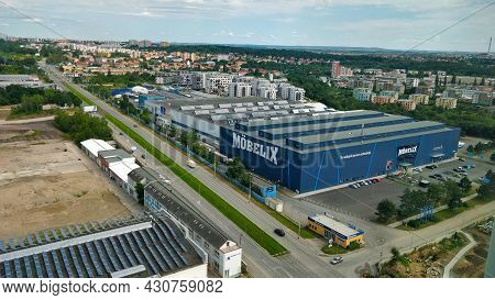 Prague, Czech Republic - August 7, 2021: Big Furniture Market Hall In Praha Vysocany Seeing From The