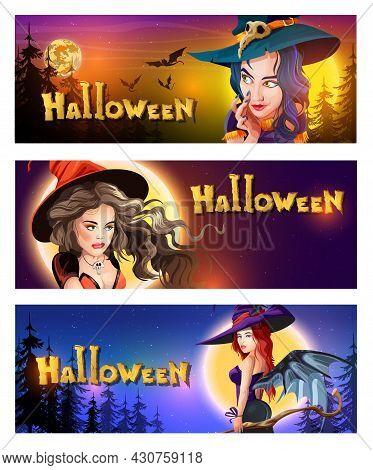 Collection Halloween Horizontal Greeting Postcards With Halloween Night, Shining Moon, Night Stars A