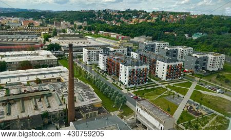 Prague, Czech Republic - August 7, 2021: Newly Built Residential Area Next To The Industrial Area In