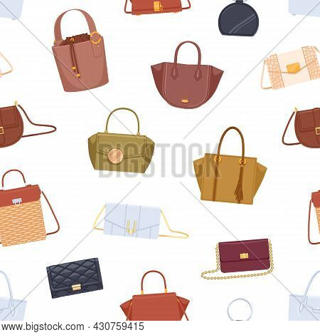 Seamless Pattern With Different Women Bags, Handbags, Purses And Clutches On White Background. Endle