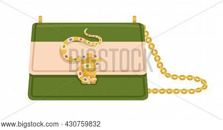 Modern Fashion Flap Bag With Snake Buckle, Jewels And Gold Chain. Women Stylish Clutch With Shoulder