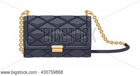 Classic Quilted Black Flap Bag With Gold Chain. Women Fashion Clutch. Small Leather Elegant Purse. M