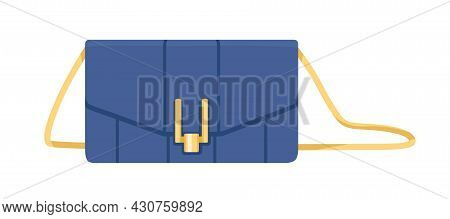 Women Fashion Clutch With Flap Snap Closure And Shoulder Strap. Small Leather Bag With Golden Buckle
