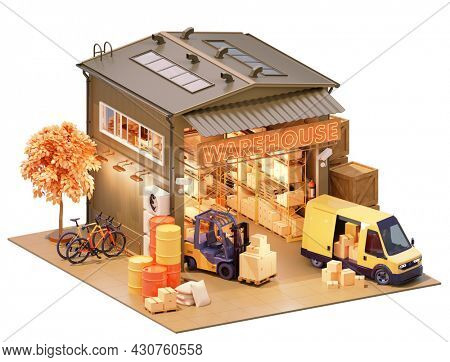 Warehouse building with interior. Warehouse racks or racking, forklift with boxes, van loaded with goods, cctv cameras, pallets with crates, barrels and sacks. With clipping path. 3d illustration