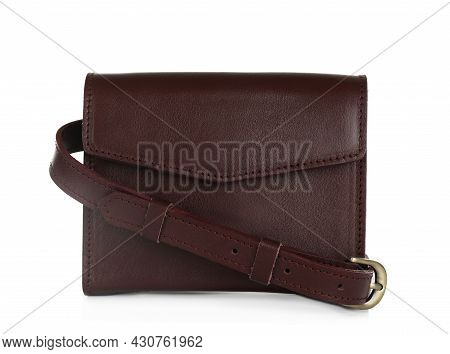 Brown Women's Leather Flap Bag Isolated On White