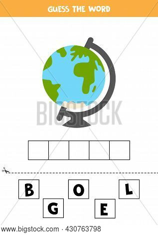 Spell The Word Globe. Vector Illustration Of Palm Tree. Spelling Game For Kids.
