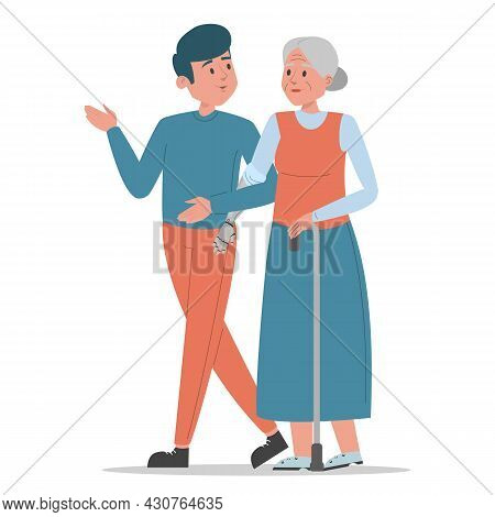 Old Disabled Woman Walks With A Young Man