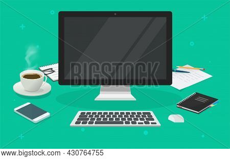 Workplace Table Desk With Computer Blank Empty Screen For Copy Space Vector 3d Cartoon Illustration,