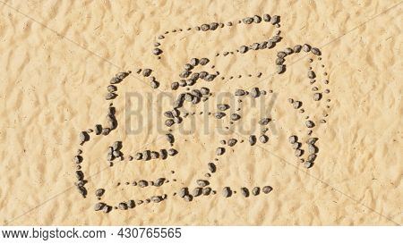 Concept conceptual stones on beach sand handmade symbol shape, golden sandy background, racing  car sign. A 3d illustration metaphor for motorsport, competition, race, speed and power