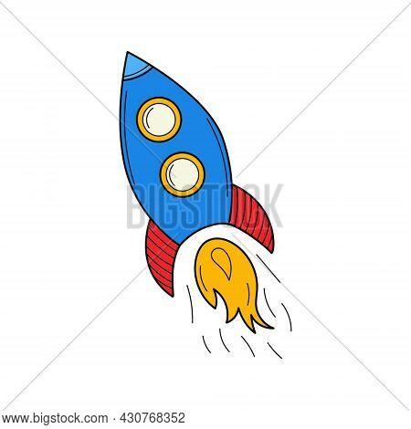 A Flying Rocket. Doodle. A Startup Symbol. Hand-drawn Bcolorful Vector Illustration. The Design Elem