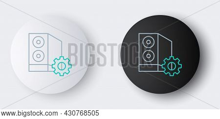 Line Case Of Computer Setting Icon Isolated On Grey Background. Computer Server. Workstation. Adjust