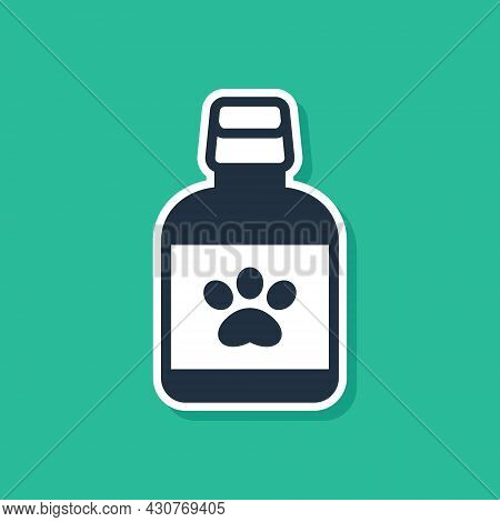 Blue Dog Medicine Bottle Icon Isolated On Green Background. Container With Pills. Prescription Medic