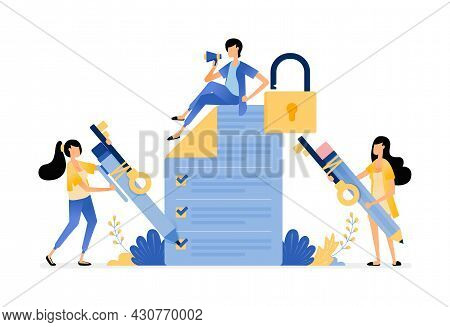 Survey And Exam Security To Protect User From Data Leakage And Misuse. Vector Illustration Concept C