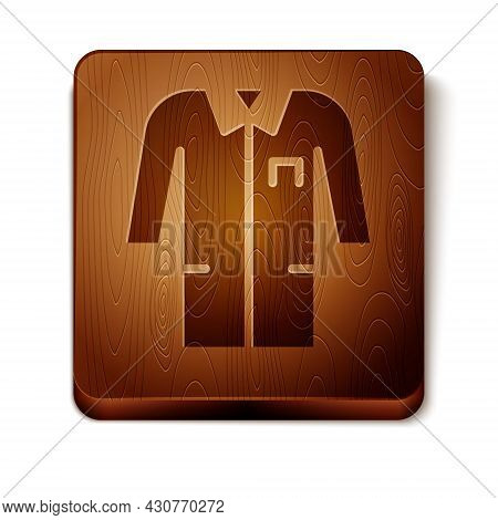 Brown Laboratory Uniform Icon Isolated On White Background. Gown For Pharmaceutical Research Workers