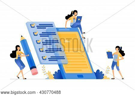 Mobile Apps Data Collection By Filling Out Surveys And Questionnaires. Vector Illustration Concept C