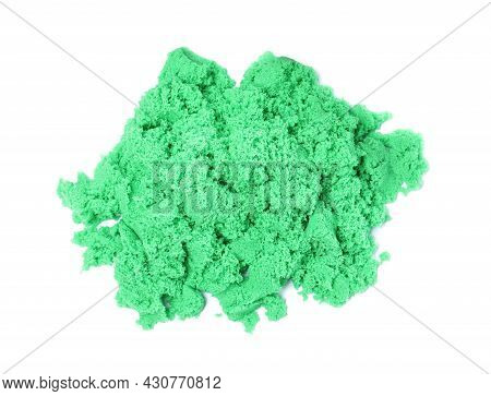 Pile Of Green Kinetic Sand On White Background, Top View