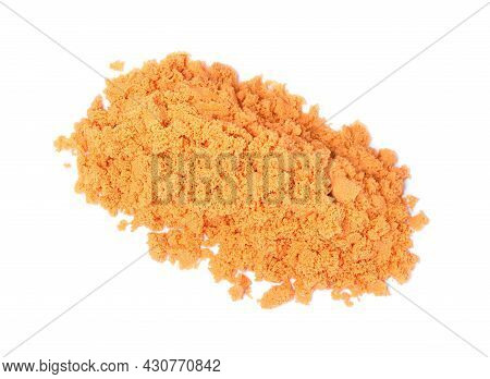 Pile Of Orange Kinetic Sand On White Background, Top View