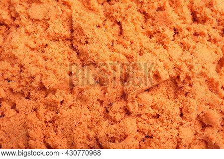 Orange Kinetic Sand As Background, Closeup View