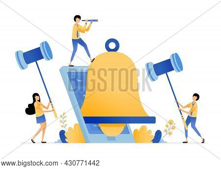 Notification Bell Apps On Smartphones To Provide Reminders And Alarms. Vector Illustration Concept C