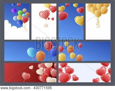 Bright Multicolored Cartoon Balloons Banner Vector Flat Illustration Festive Aero Design For Holiday