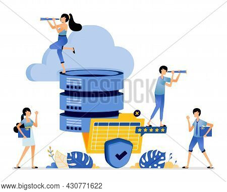 Illustration Of Cloud Storage Connected To The Database System With Best And Safest Level Of Satisfa