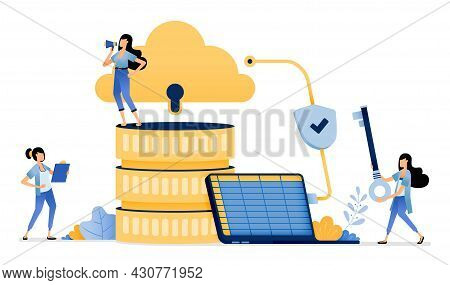 Illustration Of Company Sales And Accounting Data Uploaded To Cloud System Database With Encrypted N