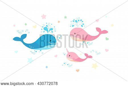 A Happy Family Of Whales. Dad Is A Blue Whale And Pink Mom And Cub.