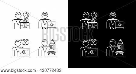 Senior Executive Roles Linear Icons Set For Dark And Light Mode. Chief Executive Officer. Main Compa
